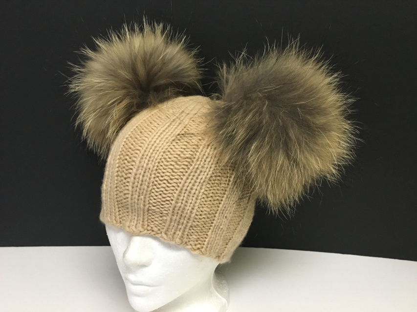 acf113451 100% Cashmere Beige Ribbed Beanie Hat Handmade - Raccoon Fur Pom Poms -  Super Soft - Brand New