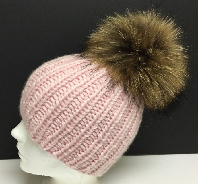 0518f176162 Cart. Store     Hats     Cashmere Hat - Chunky - Single Pom     100%  Cashmere Chunky Baby Pink Beanie ...