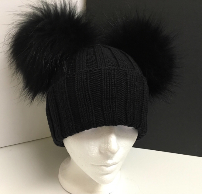 Ribbed Black Wool Beanie Hat - Raccoon Fur Pom Poms - Double ... 2389f20c436