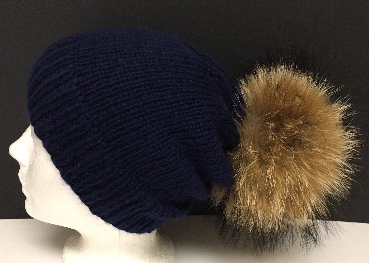 6aab2d72e 100% Cashmere Navy Blue Slouchy Beanie Hat Handmade - Natural Brown Raccoon  Fur Pom Pom - Super Soft - Brand New