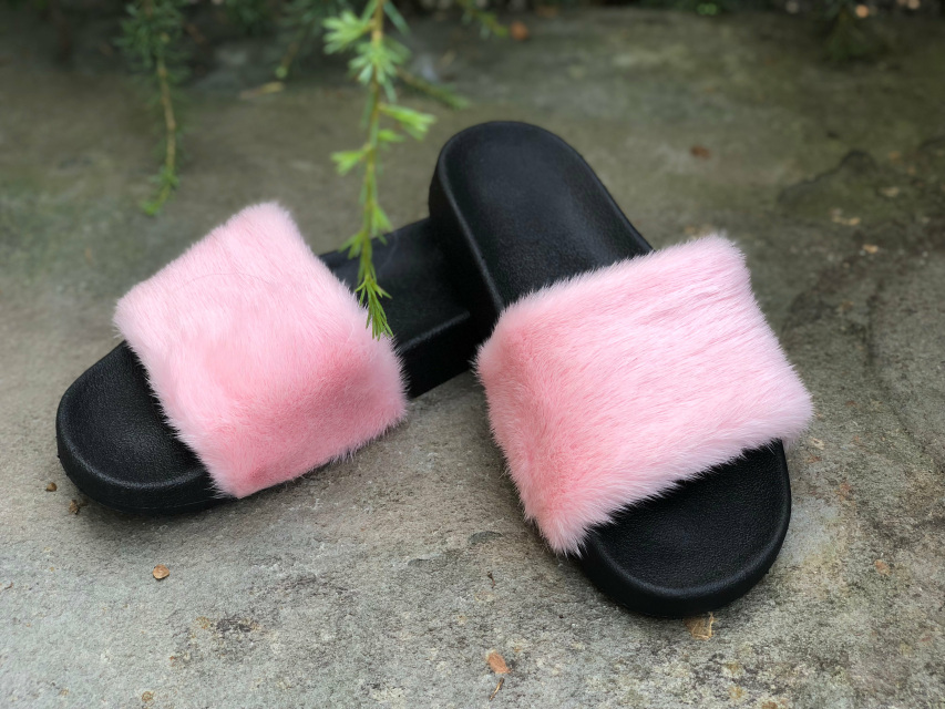 018af6497fe Real Fur Fox Raccoon Mink Slides Slippers Handmade