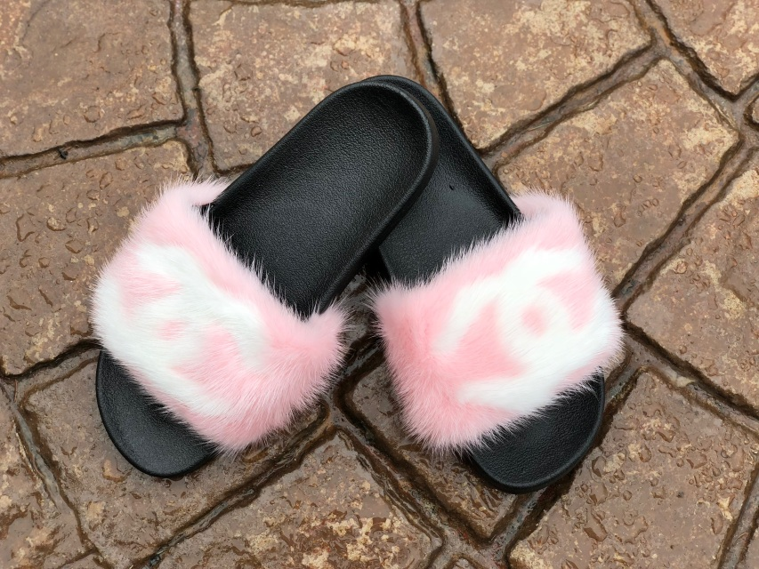 4665ccc5688d Designer Chanel Inspired Mink Slides with CC Detail - Pink White