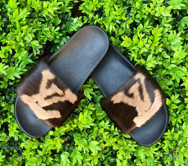 c9122b2b0ea7 Brown Designer LV Inspired Mink Slides with Letter Logo Detail