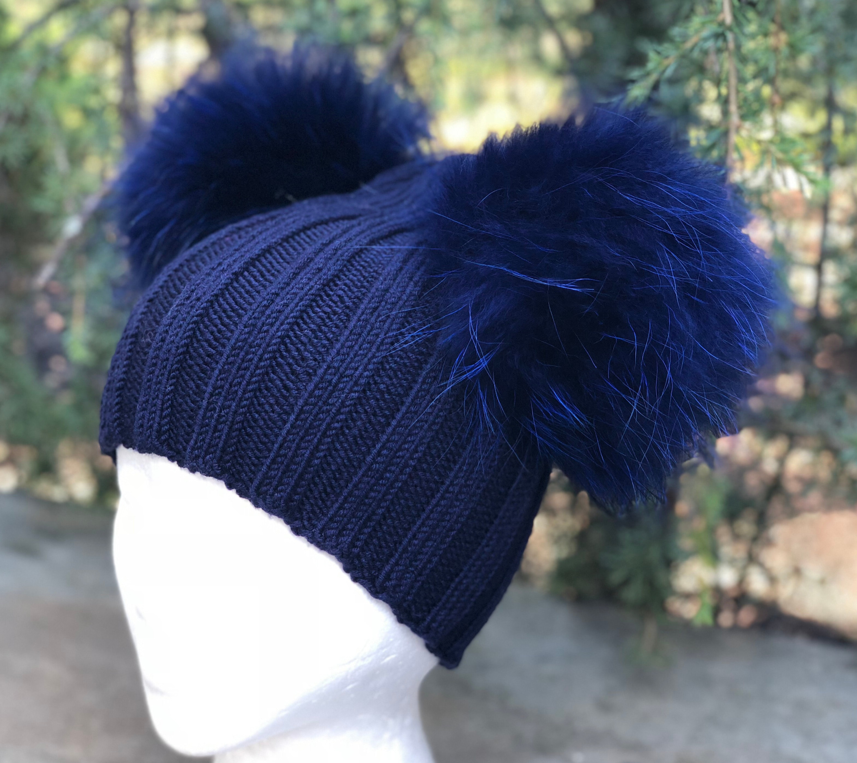 ee680af2282 Ribbed Navy Blue Wool Beanie Hat - Double Raccoon Fur Pom Poms ...